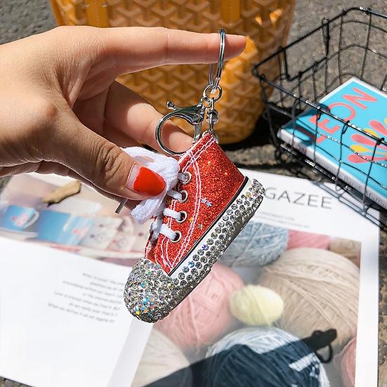 Diamond Studded Glitter Mini Canvas Shoes Keychain Bag Pendants