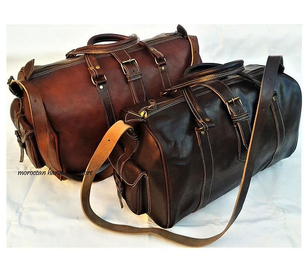 Moroccan duffel leather bag handcrafted