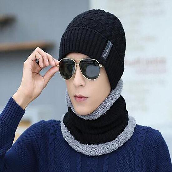 Knit Hat Scarf Warm Velvet Thickening Skull