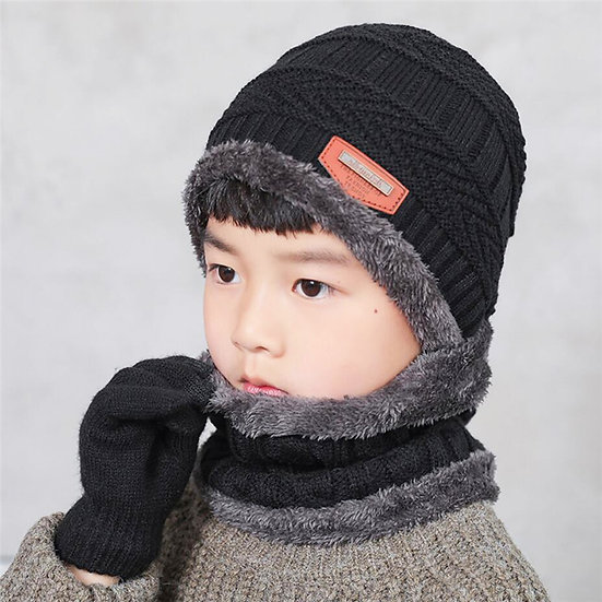 Child Knitted Hat and Scarf Gloves Set