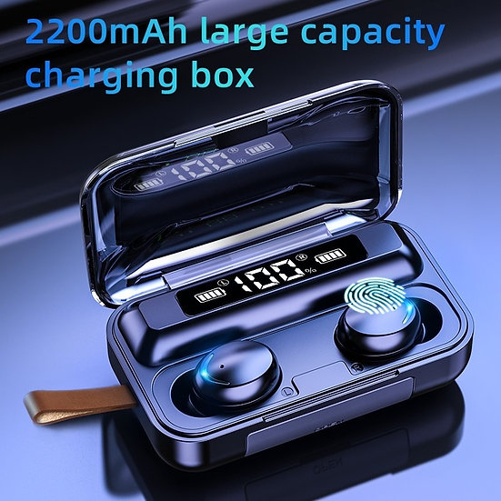 Bluetooth 5.0 Earphones 2200mAh Charging Box Wireless Headphone c/w Microphone
