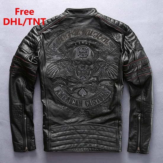 Genuine Leather Jacket Embroidery Skull Pattern