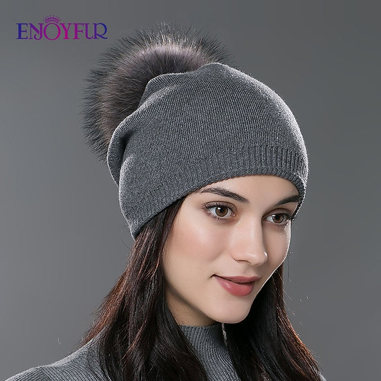 Women Real Fur Pom Pom Hats Wool Knitted Thick Warm Lined Beanies