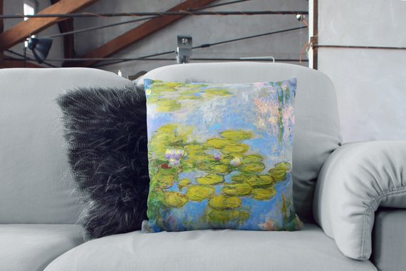 Claude Monet Pillows Water Lilies Print Pillow
