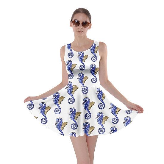 Blue White Seahorse Skater Dress