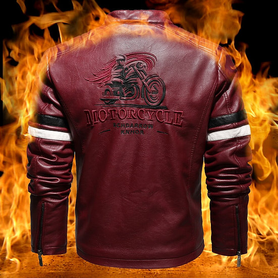 Men Leather Motorcycle Jacket Embroidery Streetwear