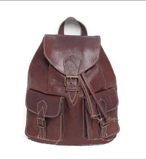 Moroccan leather Bohemian backpack handcrafted