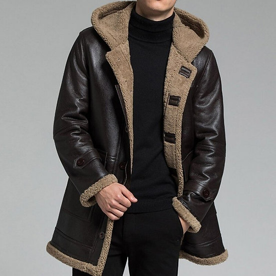 Men Pilot Jacket Real Fur Hooded Outerwear Genuine Leather Coat