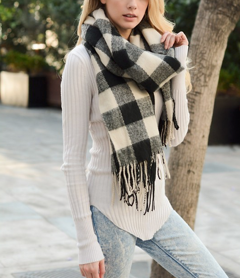 Black & Ivory Plaid Checkered  Scarf