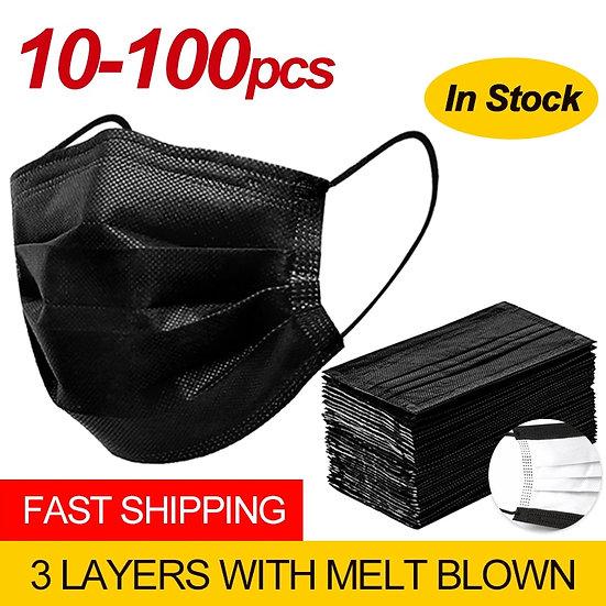 Free Shipping Black 3-Layer Mask 10/20/50/100pcs Face Masks  Disposable