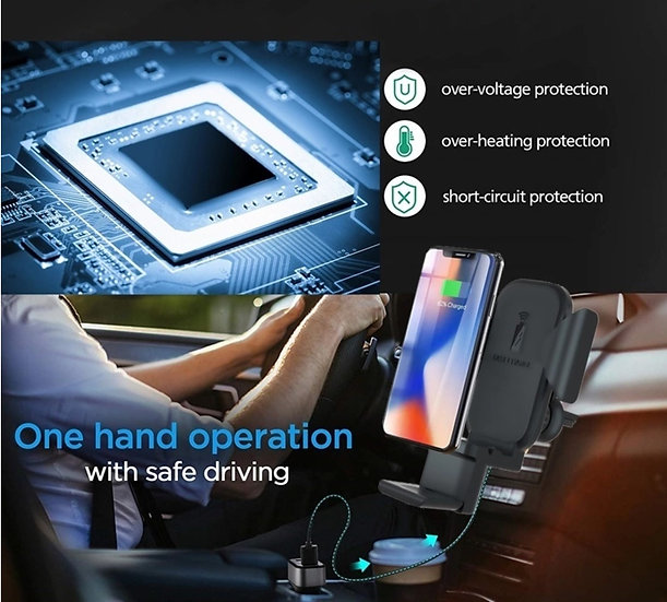Wireless car fast charger docking for inductive phones, Apple iWatch,  AirPods.