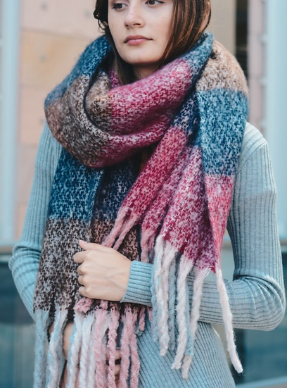 Berry Mixed Plaid Scarf