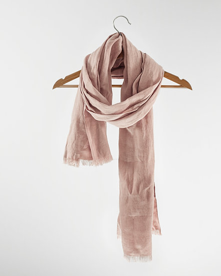 Pale Pink Linen Scarves & Wraps With Tassels