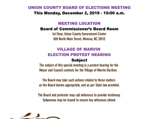 Marvin Village Election Protest Hearing - Attend this Monday at 10 am!