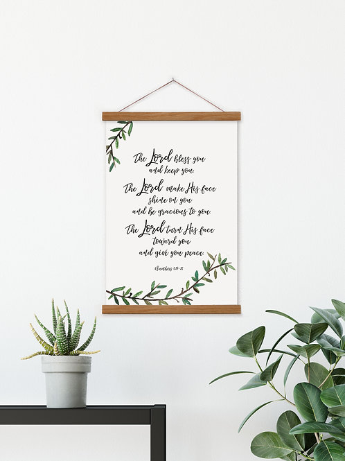 The Lord Bless You Hanging Canvas Banner  - Numbers 6:24-26