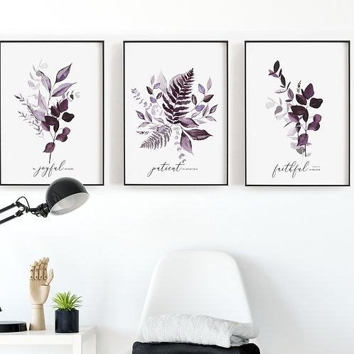Be Joyful Purple Botanical Print Set - Romans 12:12