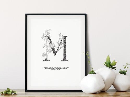 Personalised Botanical Monogram Print - Proverbs 31:26