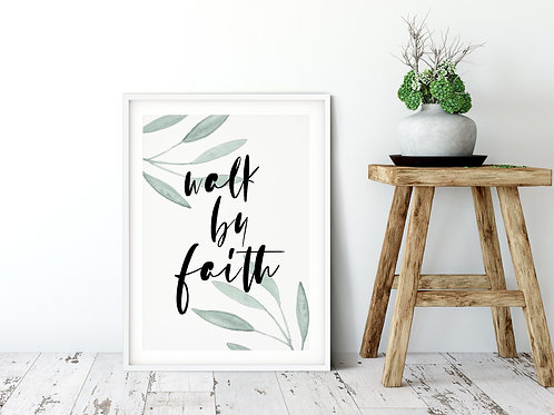 Walk By Faith Botanical Print - 2 Cors 5:7