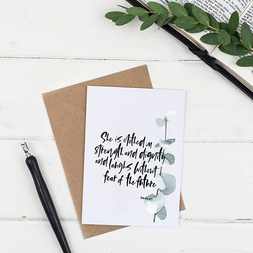 She Is Clothed Botanical Card - Proverbs 31:25