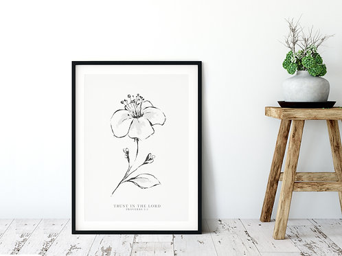 Trust In The Lord Line Drawing Print - Proverbs 3:5