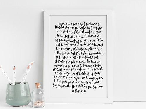 Beatitudes Minimalist Print - Matthew 5:3-12