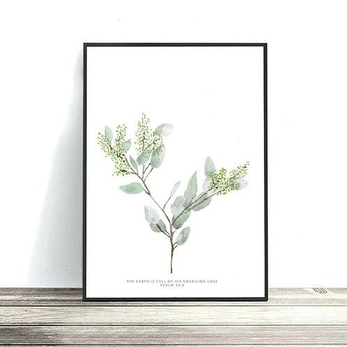 Seeded Eucalyptus Print - Psalm 33:5