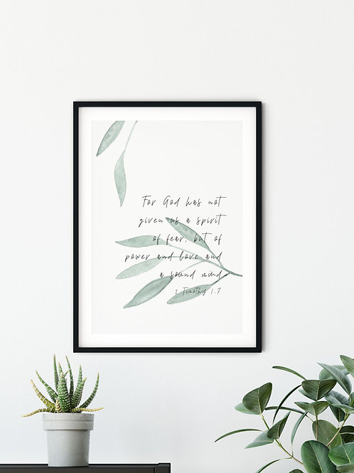 Spirit Of Power And Love Botanical Print - 2 Timothy 1:7