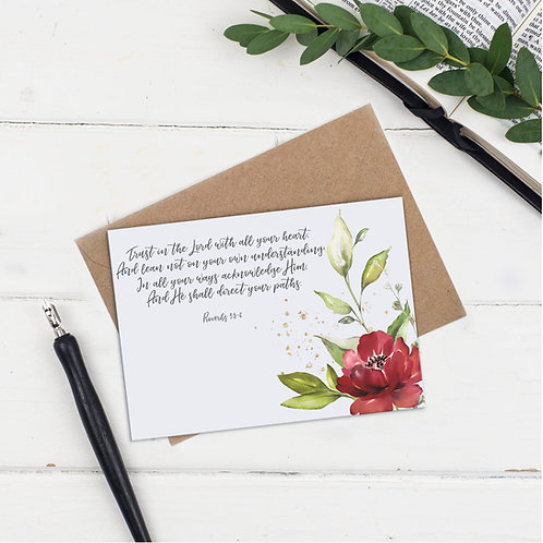Trust In The Lord With All Your Heart Floral Greeting Card - Proverbs 3:5-6