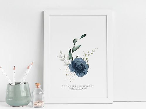 Not Me But The Grace Of God Within Me Blue Floral Print - 1 Corinthians 15:10