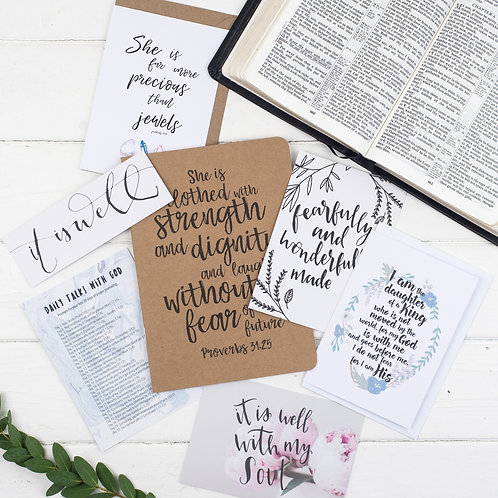 She Is Clothed Prayer Journal Gift Set For Her - Proverbs 31:25