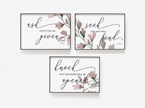 Ask, Seek, Knock Botanical Print Set - Matthew 7:7