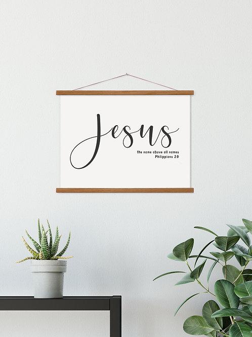Jesus Minimalist Hanging Canvas Banner - Philippians 2:9