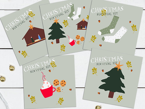 Christmas Survival Kit Cards - Set of Five