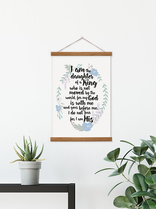 Daughter Of A King Floral Hanging Canvas Banner