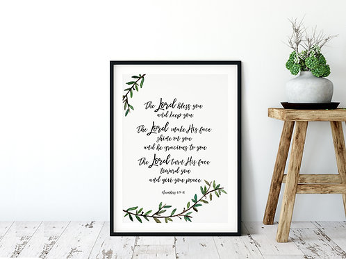 The Lord Bless You Print - Numbers 6:24-26