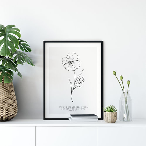 When I Am Afraid Floral Line Drawing Print - Psalm 56:3