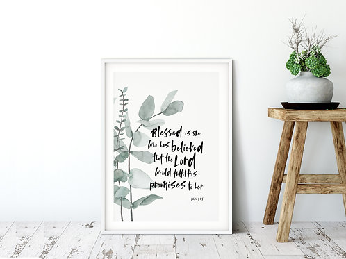 Blessed is She Botanical Print - Luke 1:45