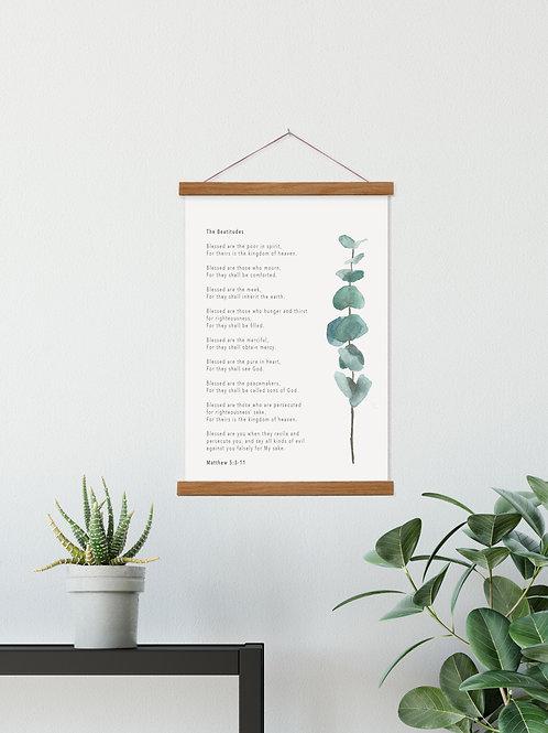 Beatitudes Botanical Hanging Canvas Banner - Matthew 5:3-11