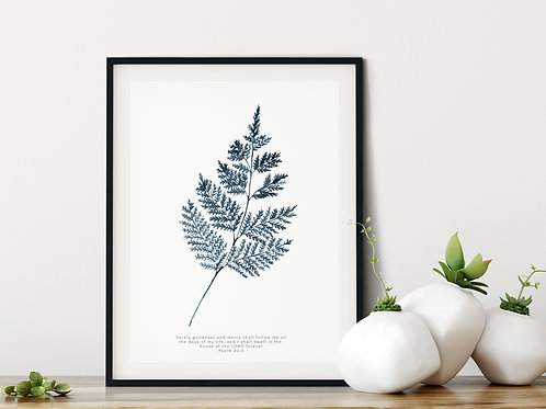 Fern Botanical Indigo Blue Print - Psalm 23:6