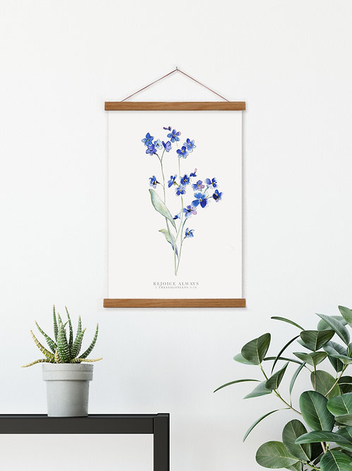 Forget Me Not Rejoice Always Hanging Canvas Banner  - 1 Thessalonians 5:16