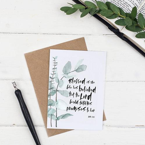 Blessed Is She Botanical Card - Luke 1:45