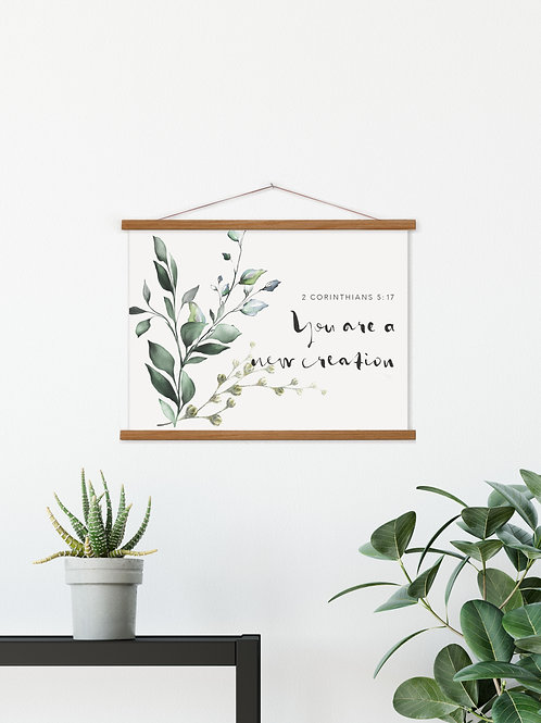 Your Are A New Creation Hanging Canvas Banner  - 2 Corinthians 5:17