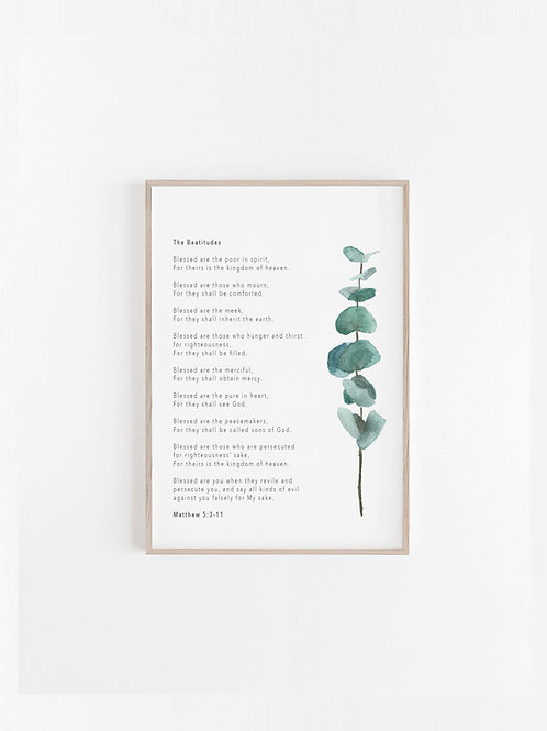 Beatitudes Botanical Print - Matthew 5:3-12