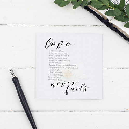Love Never Fails Floral Greetings Card