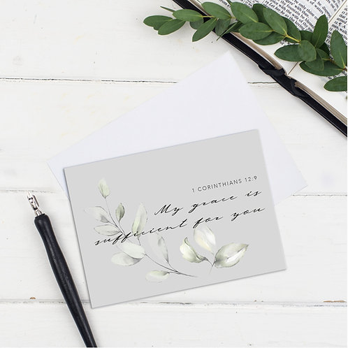 My Grace Is Sufficient Grey Floral Greeting Card - James1:2