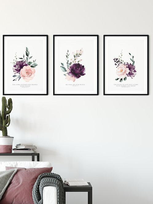 Peace Pink Floral Print Set