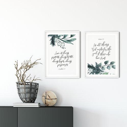 Love Botanical Print Set