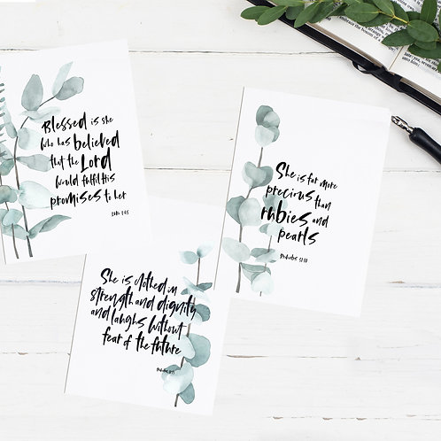 She Is Botanical Greeting Cards - Set of Three
