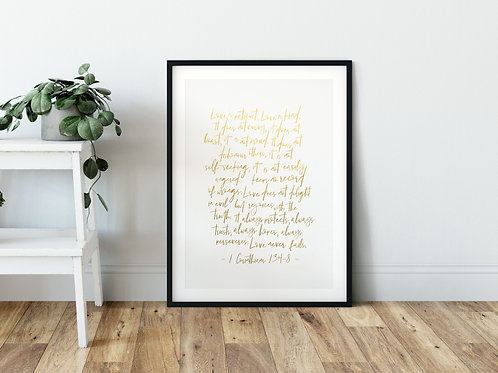 Love Is Patient Gold Ombre Print - 1 Corinthians 13:4-8