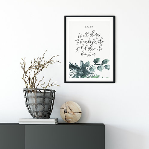In All Things Botanical Print - Romans 8:28